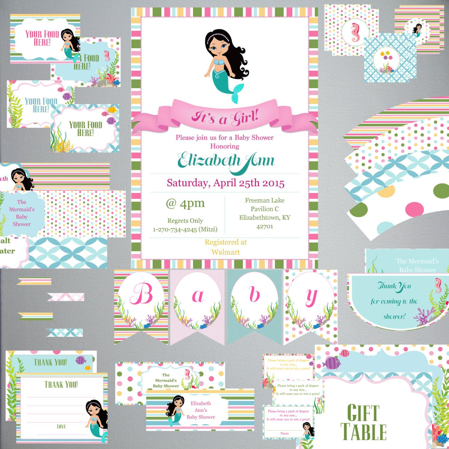 Mermaid BABY Shower Set-DIY Printable-Instant Download-Editable-Print At Home-Party Supplies by PaperWillowDesigns on Etsy