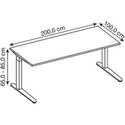 Photo of Hammerbacher Xb2e height-adjustable desk gray rectangular Hammerbacher