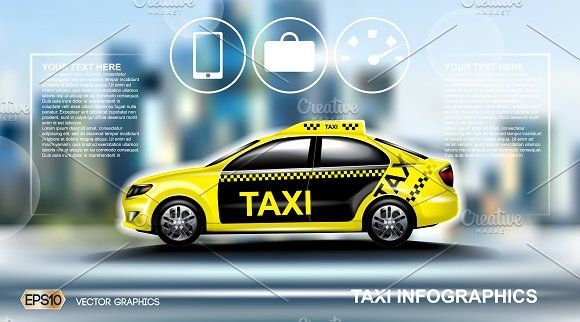 Vector Yellow Taxi Car Mockup Yellow Taxi Business Card Mock Up Product Mockup Design