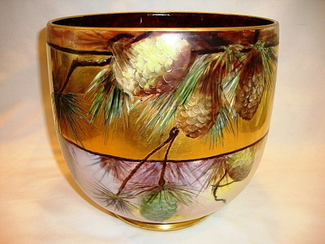 """AMAZING Limoges Jardiniere~ Large 9"""" High and 31"""" Circumference. LOTS of GOLD! Hand Painted Pinecones ~ Signed Mary Bowen 1917 – William Guerin 1900-1932"""
