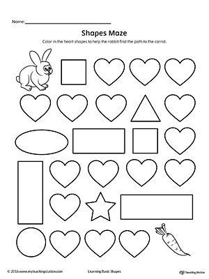 heart shape maze printable worksheet printable worksheets maze and worksheets. Black Bedroom Furniture Sets. Home Design Ideas