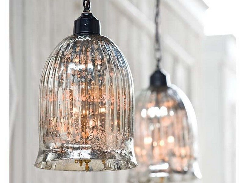 Mercury Glass Pendant Lights Over Kitchen Island