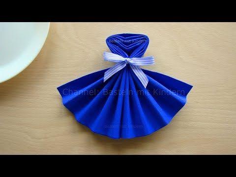 (20) Servietten falten: Kleid DIY Tischdeko basteln