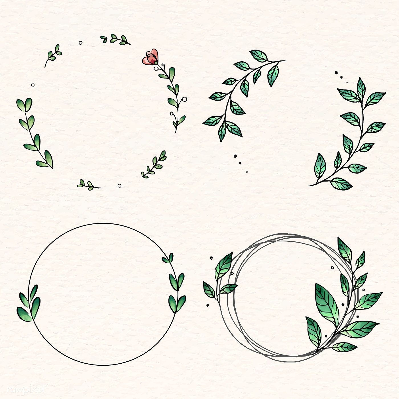 Photo of Download premium vector of Doodle floral wreath vector collection 843838