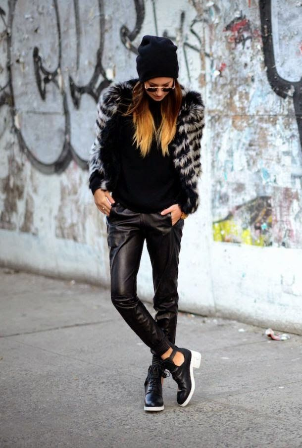 edgy trousers and fur jacket with cut out boots