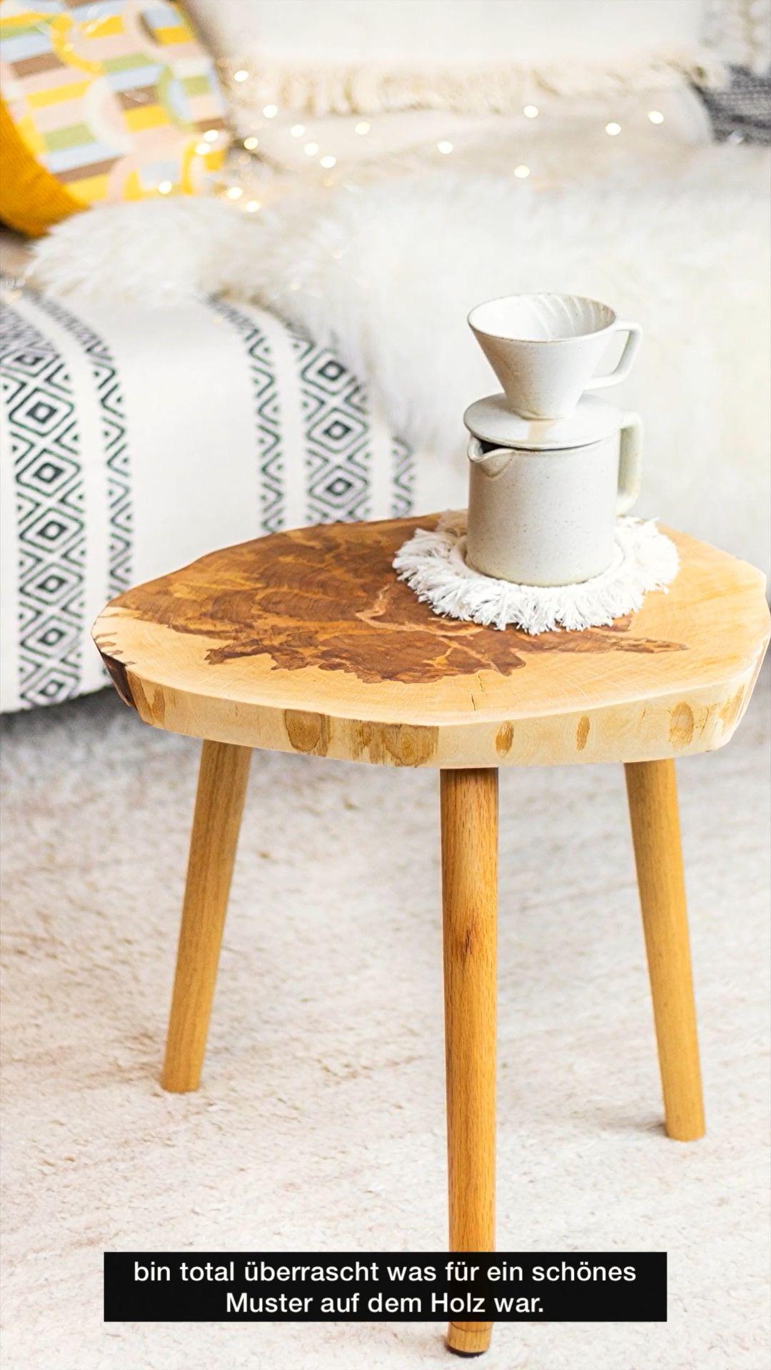 DIY Beistelltisch aus einer Holzscheibe bauen