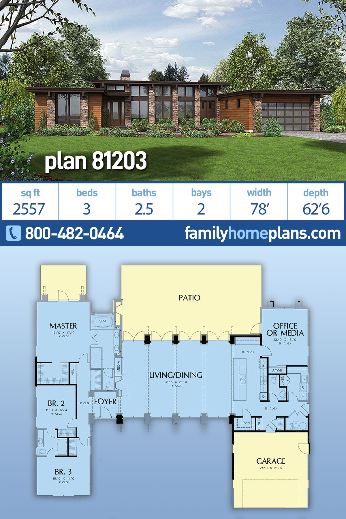Modern Style House Plan 81203 With 3 Bed 3 Bath 2 Car Garage Modern Style House Plans Family House Plans Modern House Plan