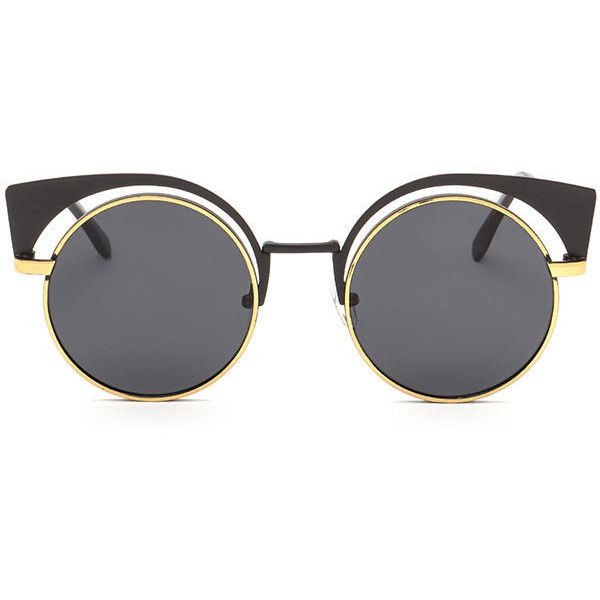 ea9ba74f5c METAL Bat My Lashes Round Cut-Out Sunglasses (130 MXN) ❤ liked on Polyvore  featuring accessories