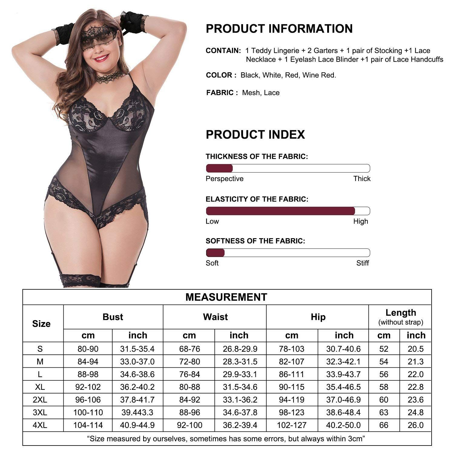 e203882caa68f Sexy Women's Lingerie Set Plus Size – Includes Garter, Stockings and Lace  Eye Mask Blindfold