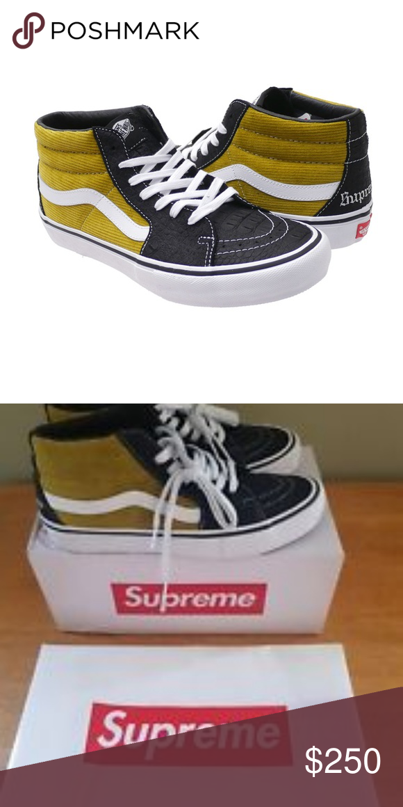 bb9d724c69 Supreme Vans Sk8-Mid This Vans Sk8-Mid was one of three colorways that  dropped alongside each other in June of 2018. Made in collaboration with  Supreme