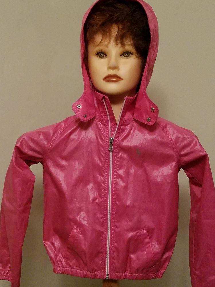RALPH LAUREN girls 6 pink full zip jacket windbreaker outerwear solid hood #RalphLauren #BasicJacket #Everyday