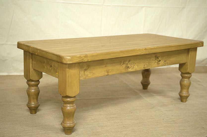 Pine Coffee Table With Carved Feet