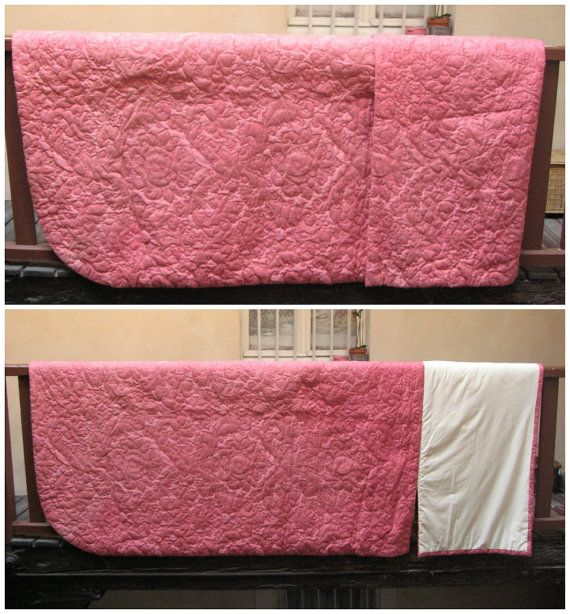 dessus de lit molletonn rose couvre lit matelass boutis fleurs brod es couette ancienne. Black Bedroom Furniture Sets. Home Design Ideas