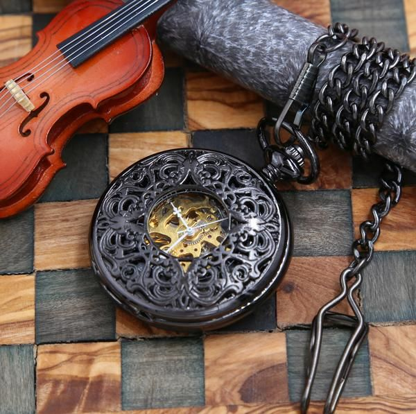 Neo Victorian Engravable Pocket Watch Mechanical Watch with chain Personalized Gift for him Groomsmen gifts MPW005