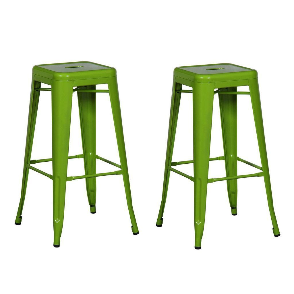 Furnistars Green 30 Inch Metal Bar Stools Set Of 2 This Set Of Two Stylish Iron Barstools Is A Unique Modern Metal Bar Stools Bar Stools Backless Bar Stools