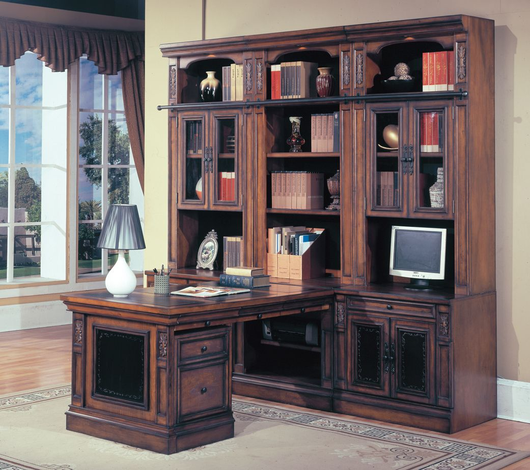 Parker House DaVinci Home Office Library Wall Unit With Desk In Dark  Chestnut Finish (8pc)