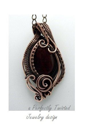 Red Tiger Eye Wire Wrapped Copper Pendant Necklace, Handmade Wire ...