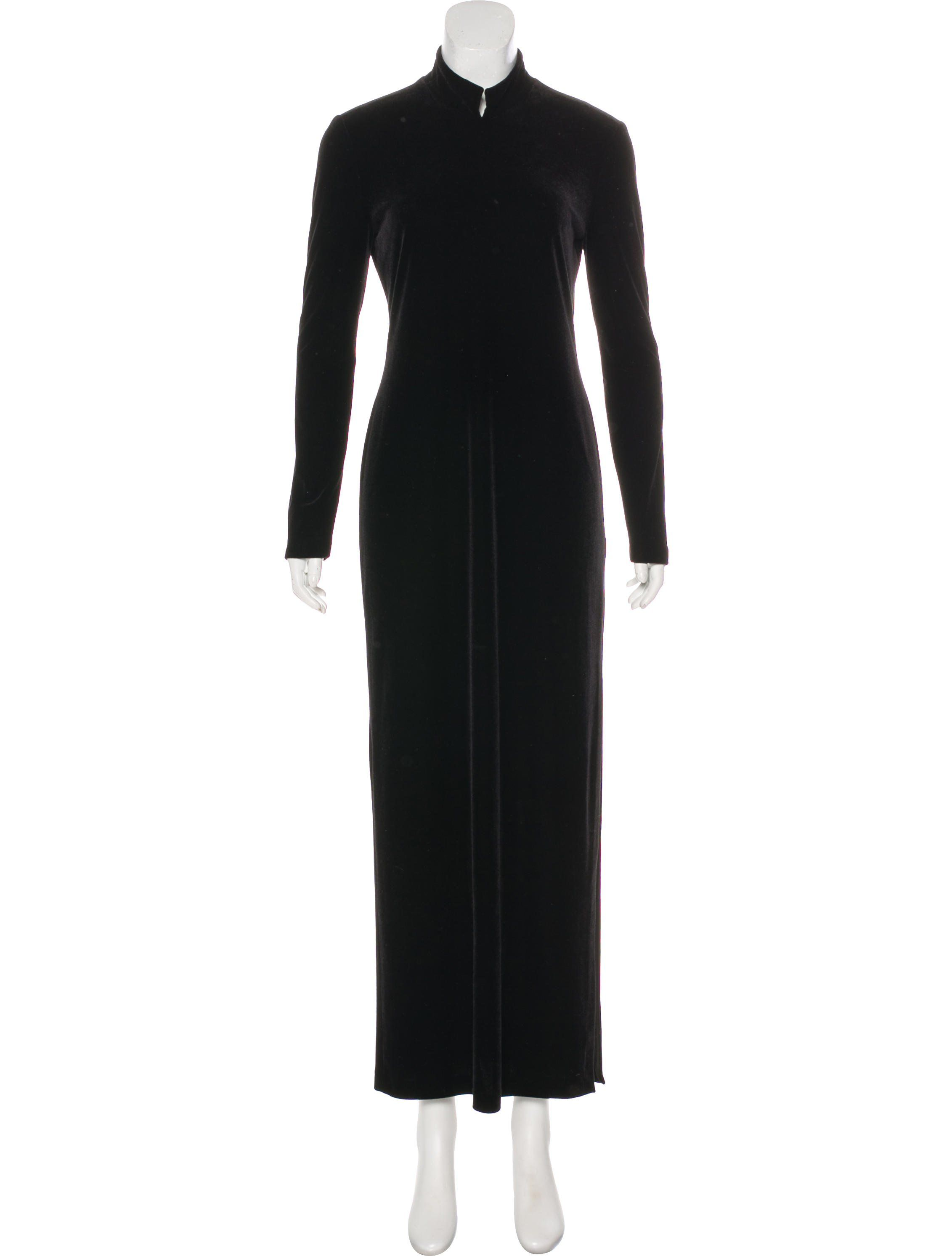 Black yeohlee long sleeve velvet maxi dress featuring tonal