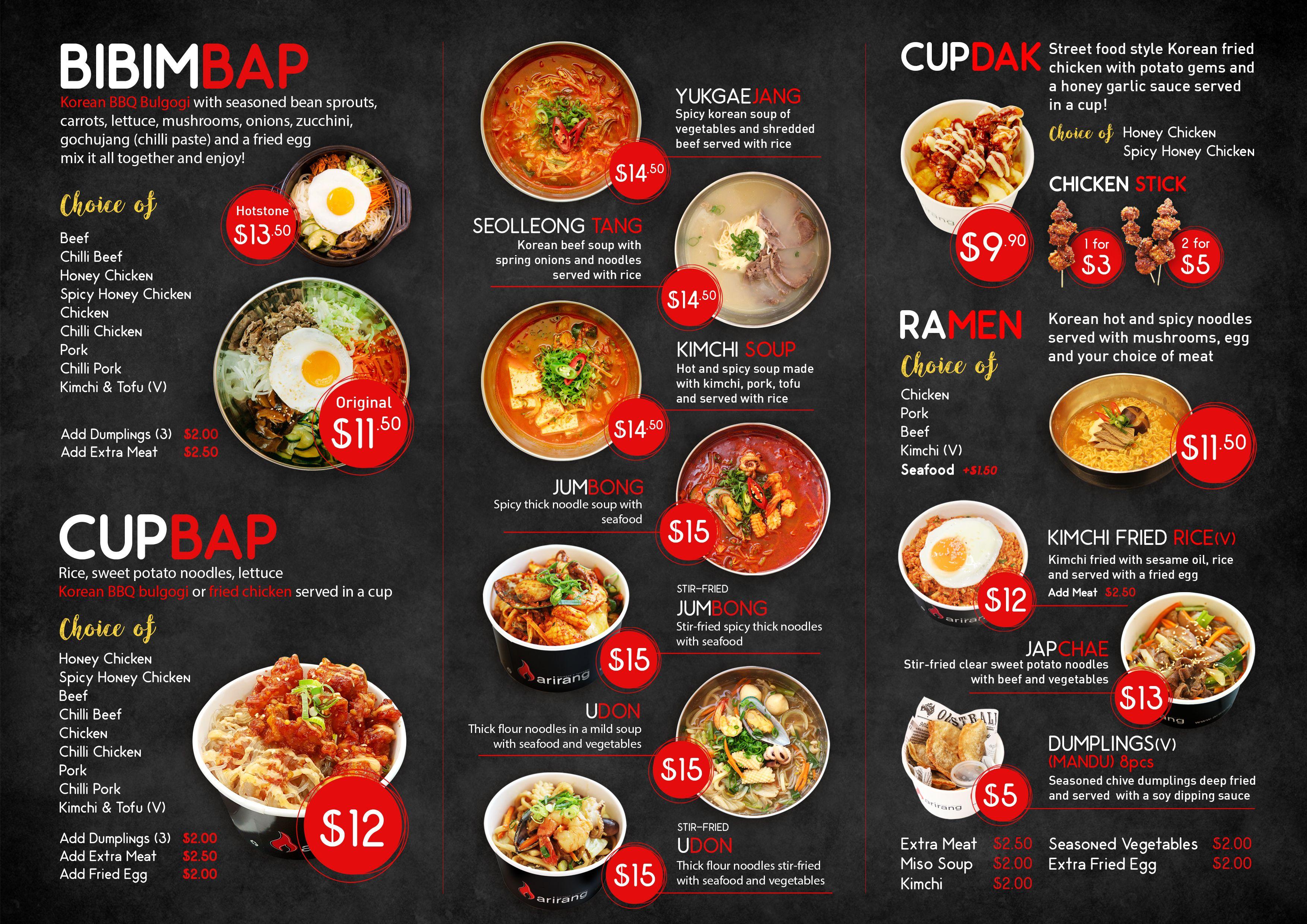 Menu Arirang Korean Bbq Perth Menu Design Food Menu