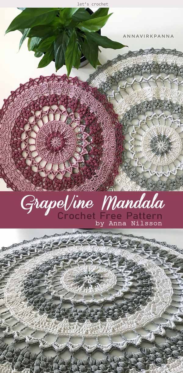 Beauty of Mandala Crochet Free Pattern #crochetmandalapattern