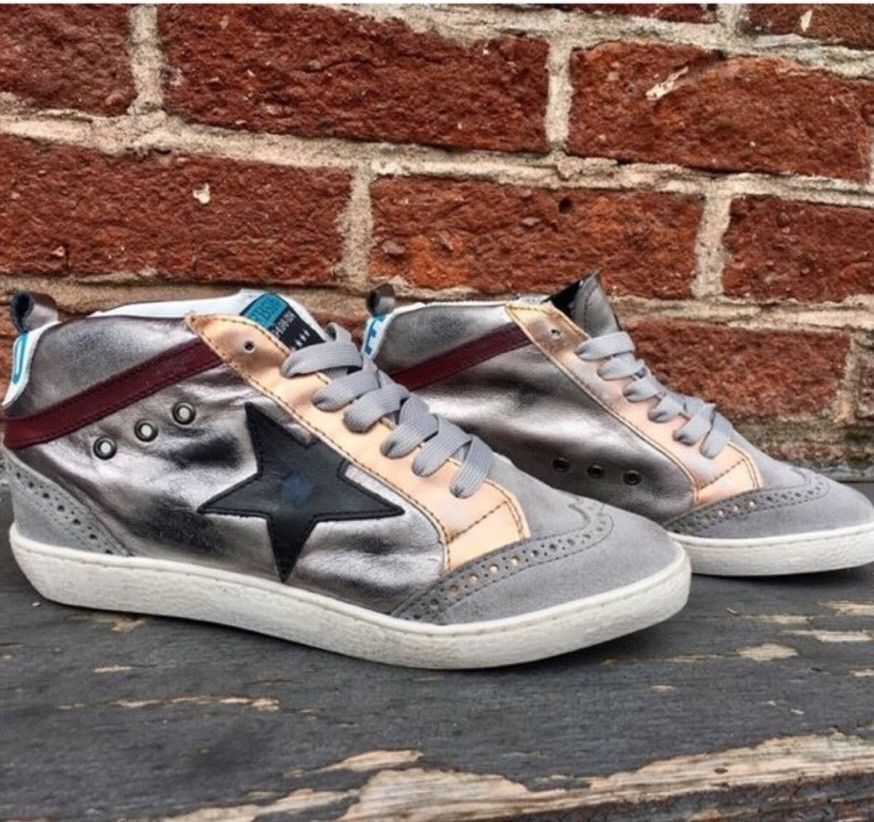 2a346145054 New  159 Freebird by Steven 516 Metallic Leather Star Sneakers Shoes 10  Buckle