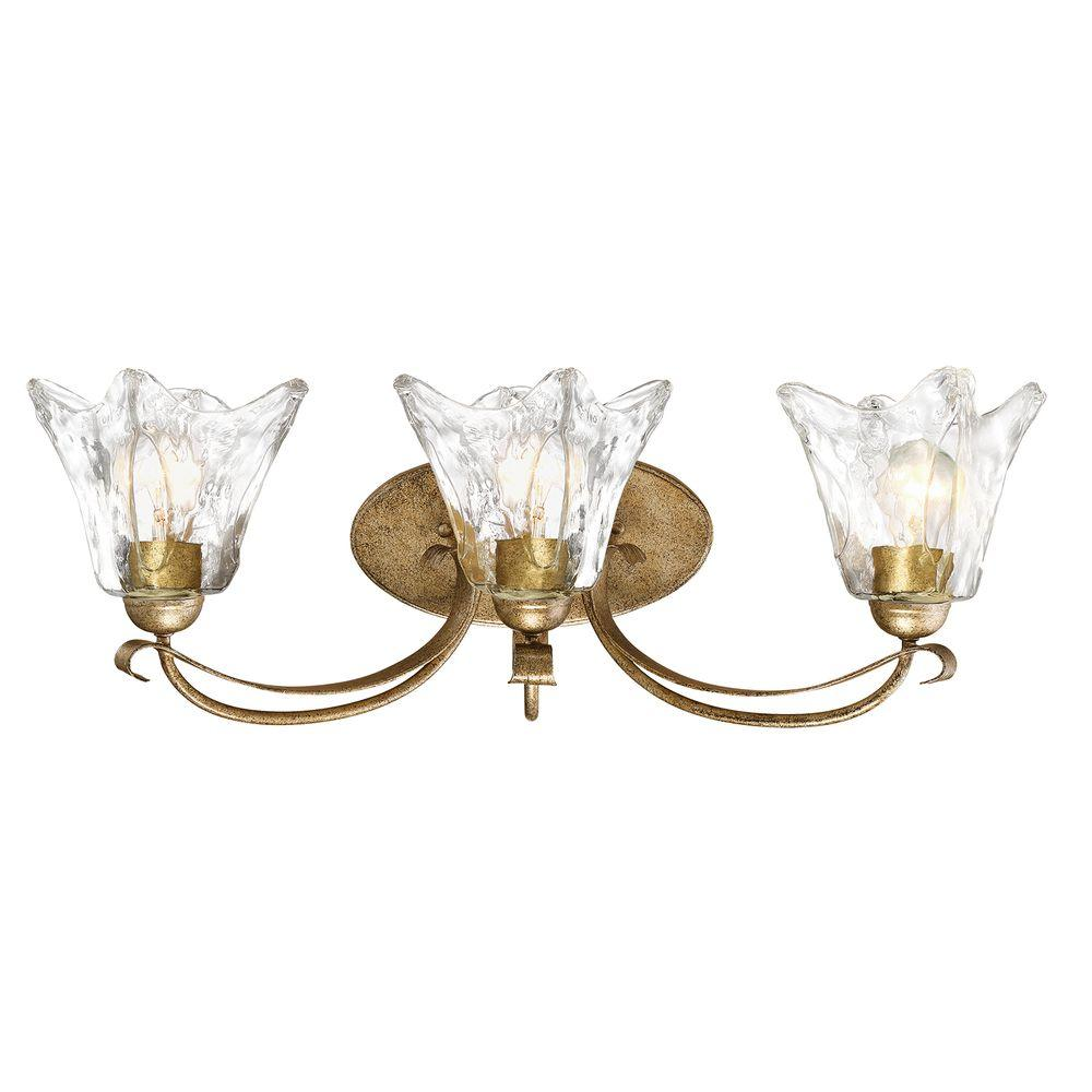 Chatsworth Collection 3 Light Vintage Gold Vanity Light With Clear