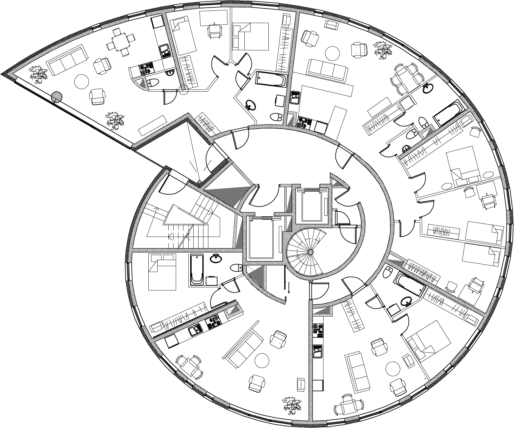 find floor plans for my house radial pinwheel floor plans google search radial architecture plantas de casas croqui 3893