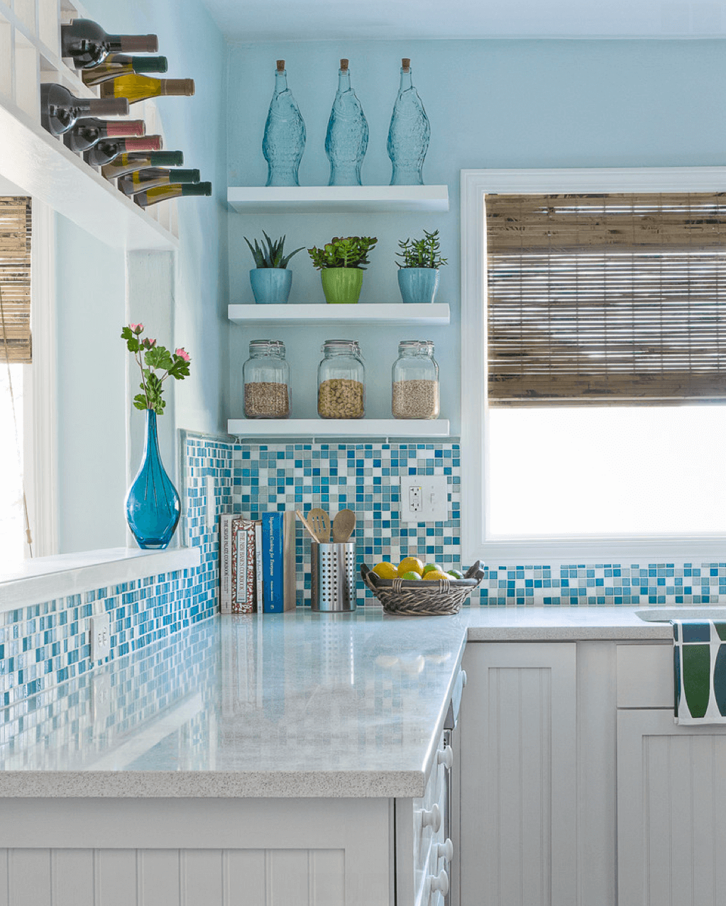 Pretty Blue Tile and Glass Compliments an Airy Kitchen | Beach ...
