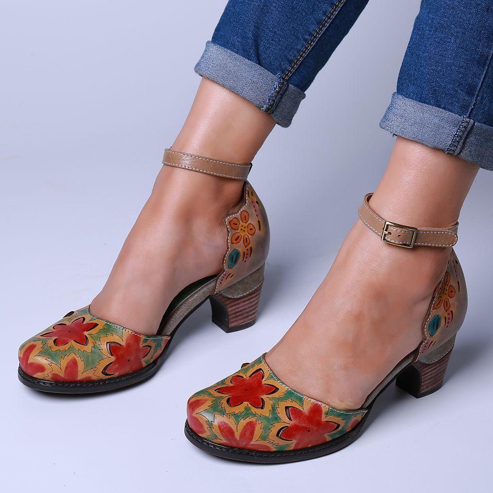 SOCOFY Donna Retro Flower Vera Pelle Stivali corti casual alla caviglia