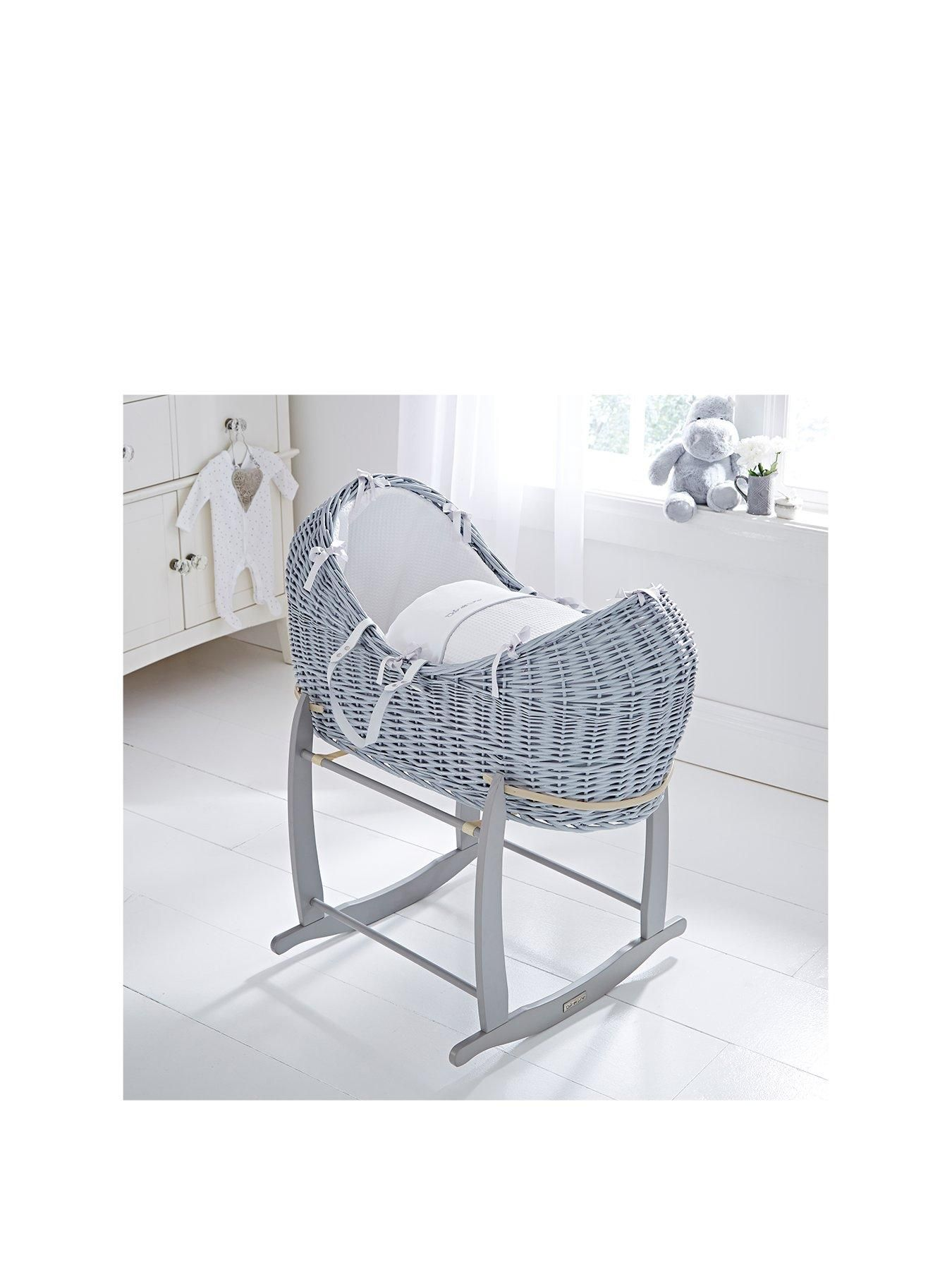 Grey Clair de Lune Deluxe Rocking Moses Basket Stand
