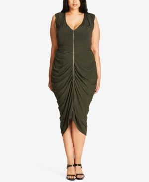2d40181b280ee City Chic Trendy Plus Size Zip-Front Dress - Green 24W