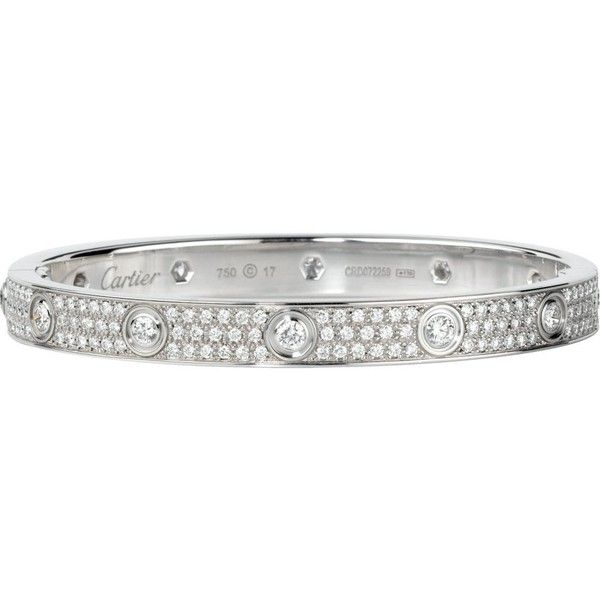 Cartier Love 18ct White Gold And Diamond Bracelet 58 935 Liked On Polyvore Featuring Jewelry Bracelets Accessories Pave