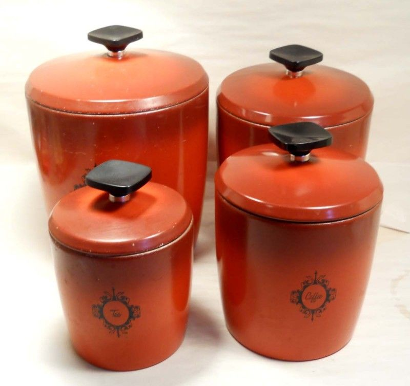 good Vintage Canister Sets Ebay Part - 11: Kitchen Vintage CANISTER SET West Bend Coffee Tea Flour Sugar Red Orange  Color | eBay