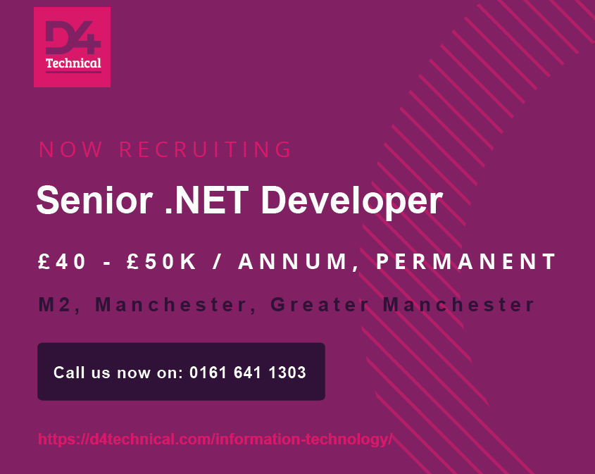 Latest Job Senior Net Developer In 2020 Recruitment Agencies Greater Manchester Job Board