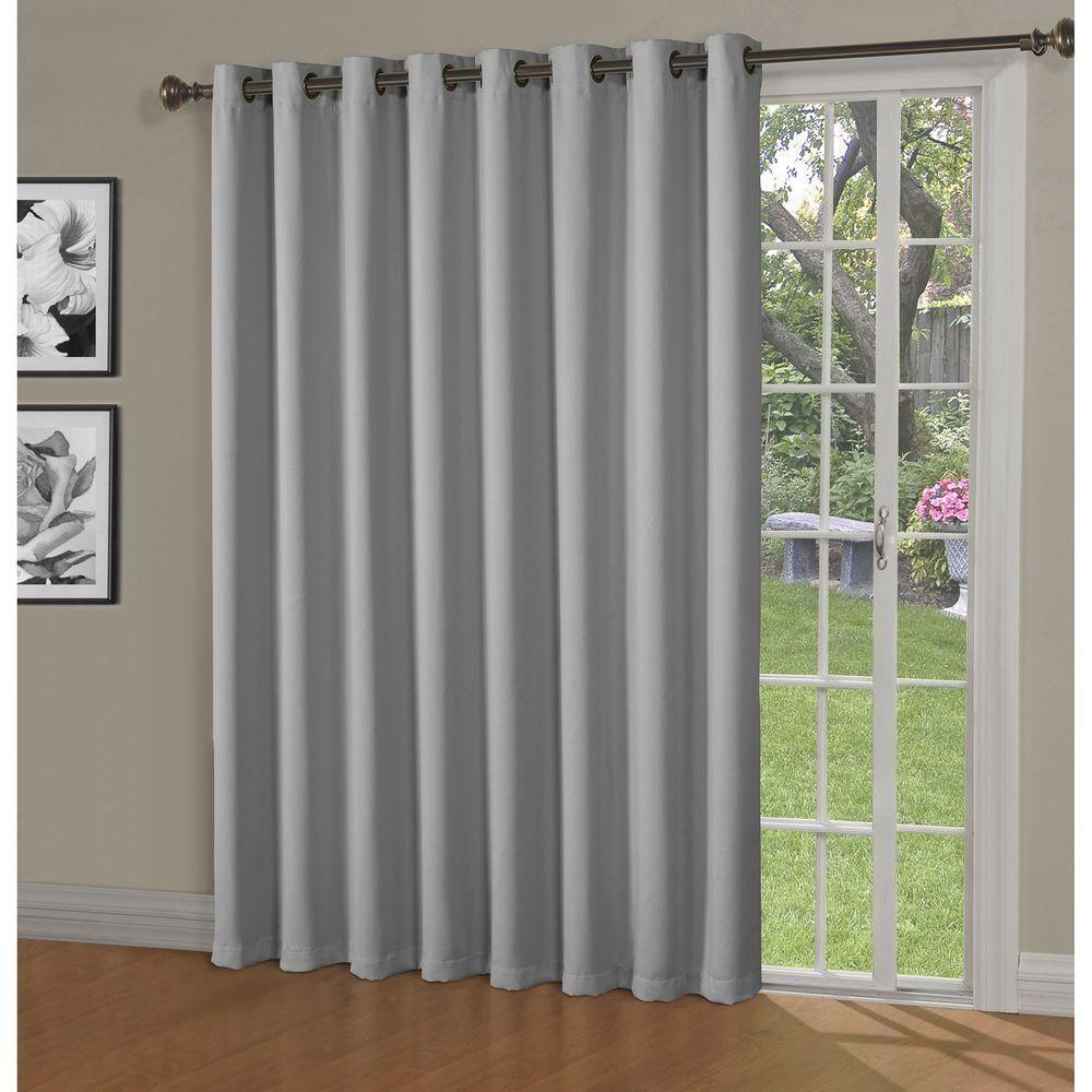 Bella Luna Blackout Maya Woven Blackout 108 In W X 84 In L Grommet Extra Wide Patio Door Curtain Panel In Patio Door Curtains Curtains Patio Doors