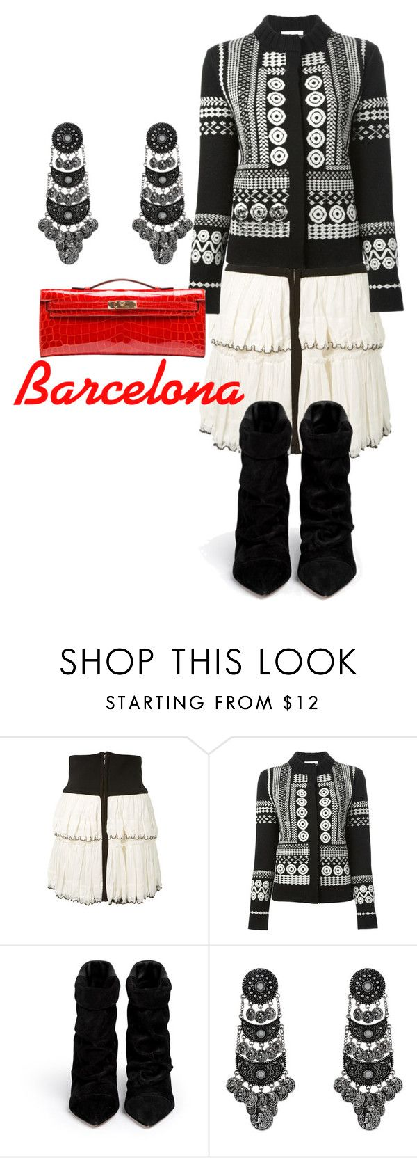 """Barcelona"" by rellenj ❤ liked on Polyvore featuring Isabel Marant, Chloé and Hermès"