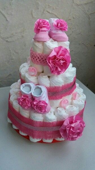 Diaper Cake For Twin Girls Diaper Cakes In 2019 Twins Cake