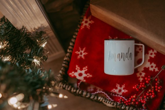 5dcbe1fbc3e Personalized Thermal Outdoor Mug with Lid - Christmas Gift For Her- Holiday  Gift Idea