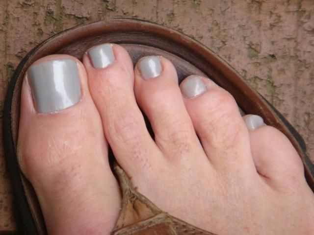 Light Grey Nail Polish Color With Silver Shimmer Male Polished
