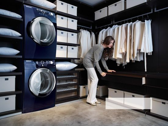 Washer And Dryer In Walk In Closet I Love It Modern Laundry Rooms Laundry Room Design Family Closet