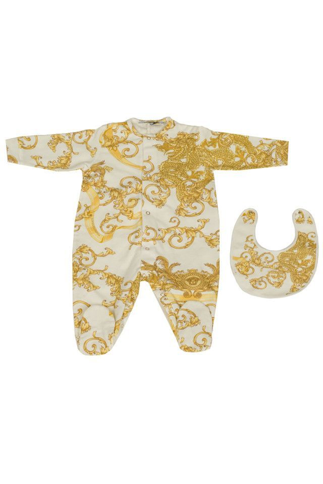 f89d602aacb2b Versace Young Baby Snap Onesie and Bib Set White and Gold