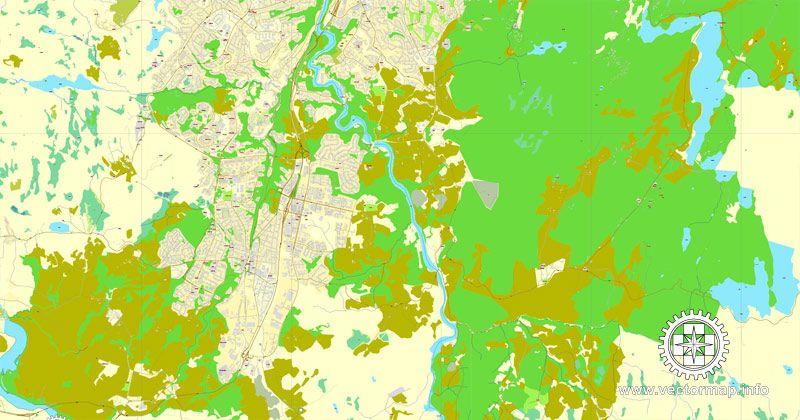 Trondheim Vector Map Norway printable vector street map of