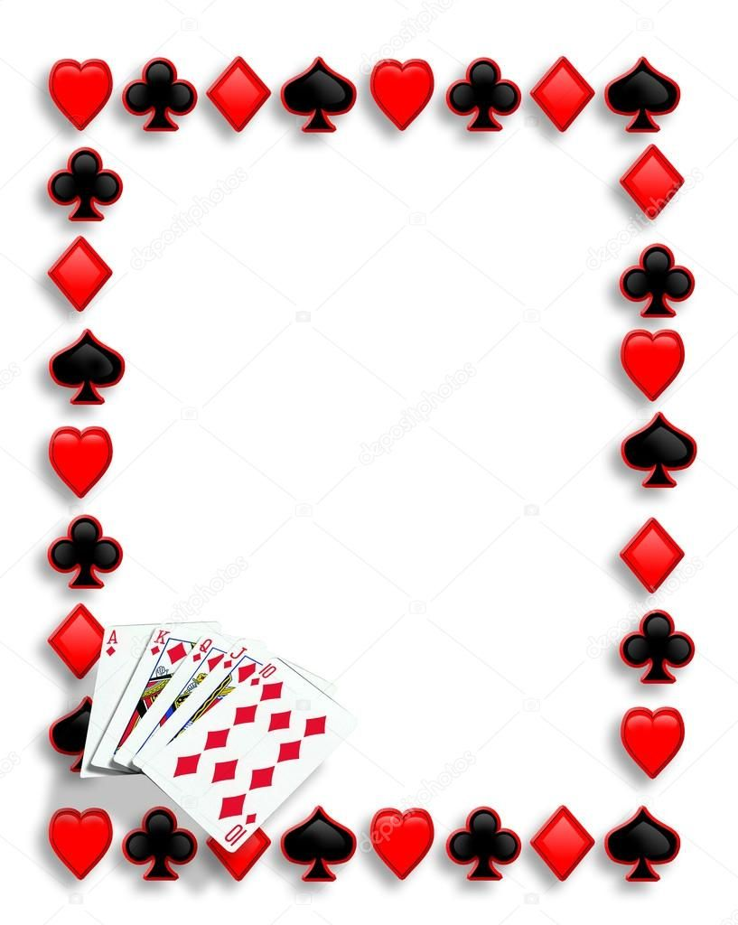 Playing Cards Suits Background Border Or Frame For Card Poker