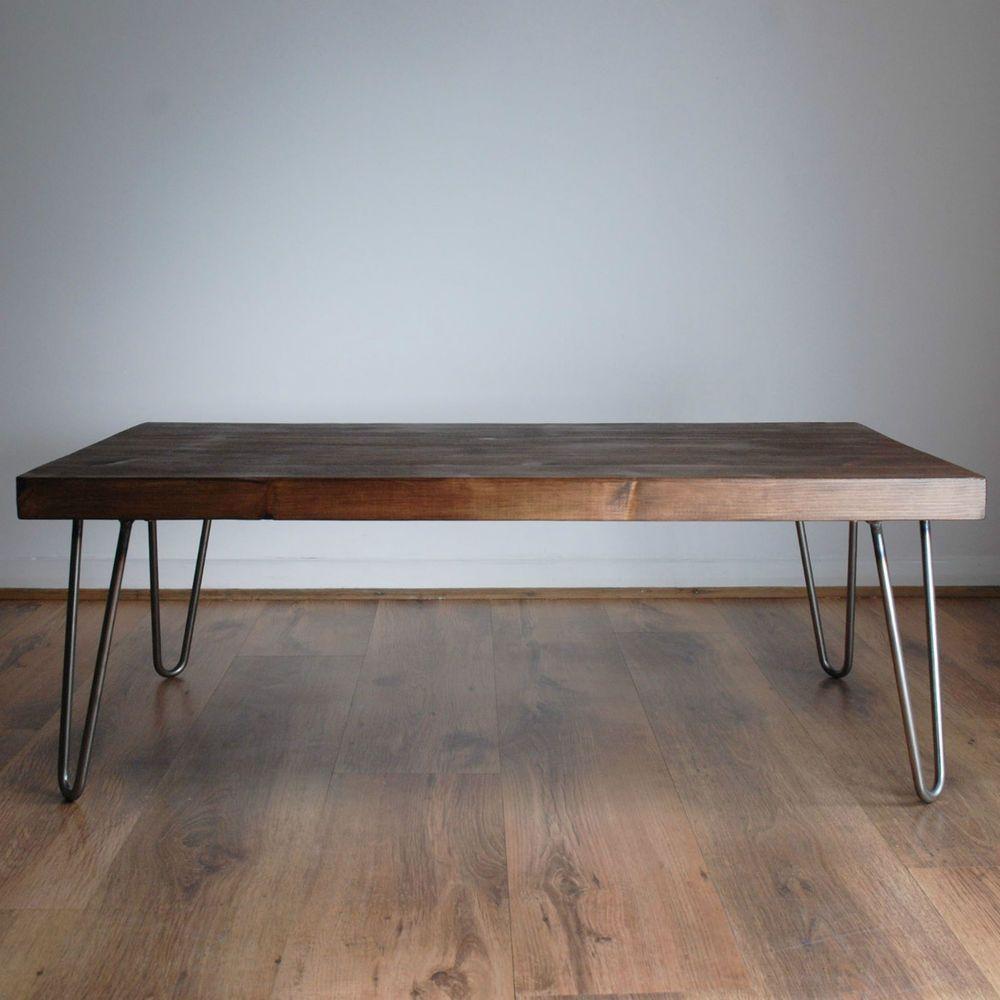 Rustic Vintage Industrial Solid Wood Coffee Table Bare Metal Hairpin Legs Dark Ebay Coffee Table Wood Solid Wood Coffee Table Rustic Wooden Coffee Table [ 1000 x 1000 Pixel ]
