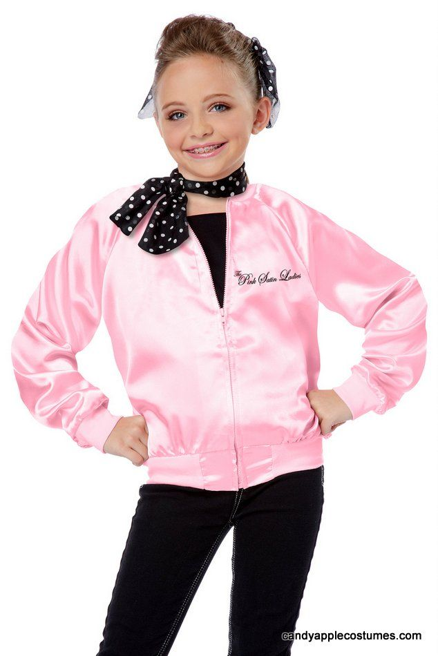 Child\'s Pink Satin Ladies Jacket & Scarf - Candy Apple Costumes ...