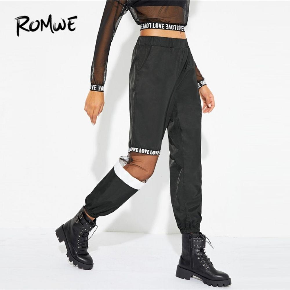 Photo of ROMWE de malla en contraste estampado carta pantalones 2019 Streetwear cintura elástica primavera otoño Pantalones ropa de mujer pantalones de cintura alta