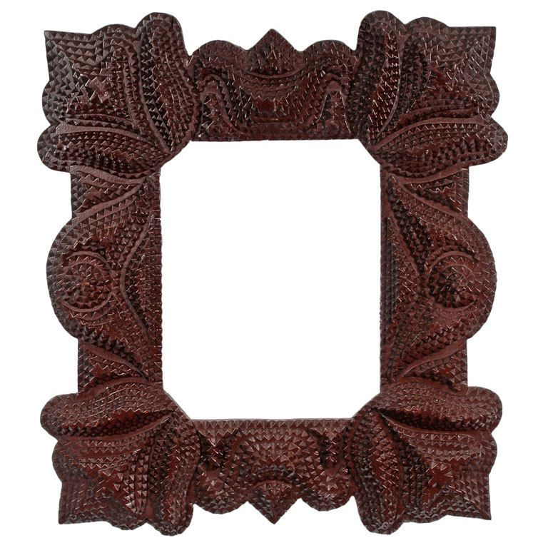 Fine Tramp Art Frame with Exaggerated Floral Corners   Folk art ...