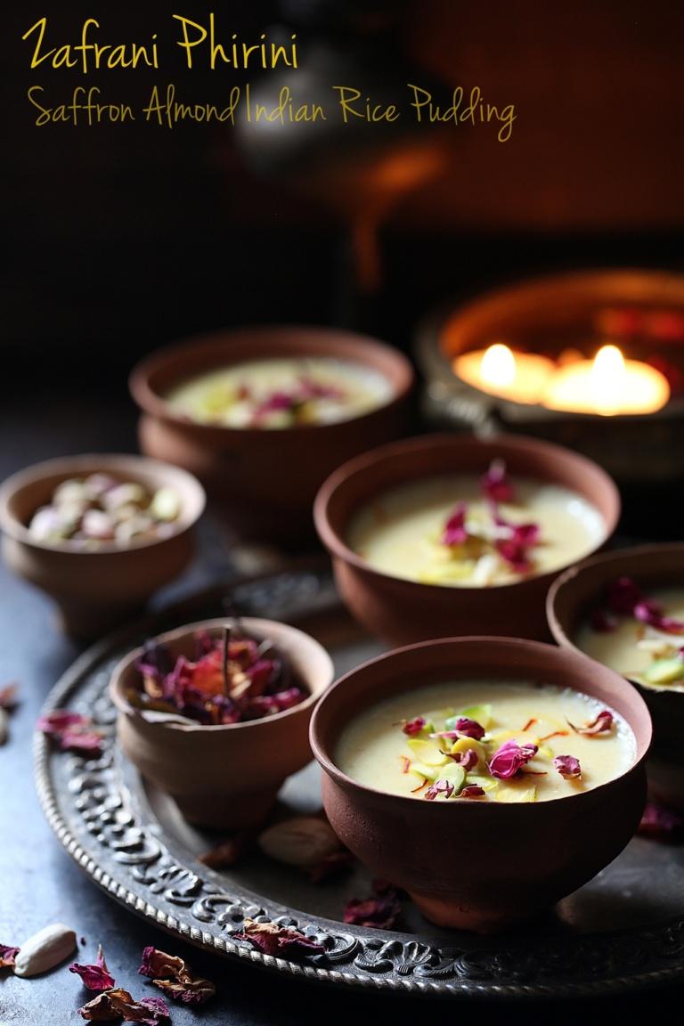Zafrani Phirini   Saffron Almond Indian Rice Pudding ...