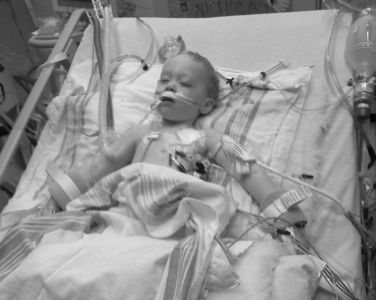 Stage 4 neuroblastoma cancer at 23 months., this little boy is now 4 1/2 yrs. old!  However, do we ever want to see these kids go through this...NO, help raise awareness for more research funds...go to cure search.org