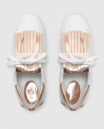 Zapatillas De Piel De Mujer Michael Kors Blancas Con Flecos Modelo Keaton Kiltie Sneaker Inspiration Rings